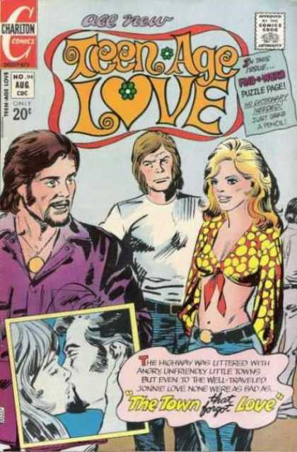 Teen-Age Love 94 - Charlton Comics - Polka Dot Shirt - Purple Shirt - Gold Medallion - The Town That Forgot Love