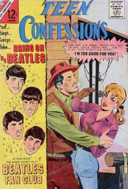 Teen Confessions 37 - Approved By The Comics Code Authority - Cap - Beatles - Fan Club - Lady