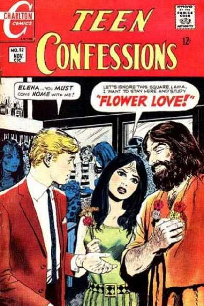 Teen Confessions 52 - Charlton Comics - Flowers - Red Jacket - Black Beard - Green Dress