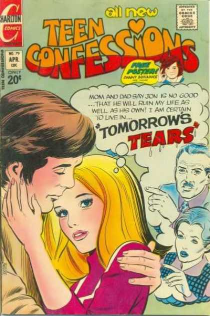 Teen Confessions 79 - Charlton Comics - Comics Code - Tomorrows Tears - Face Poster - Couple