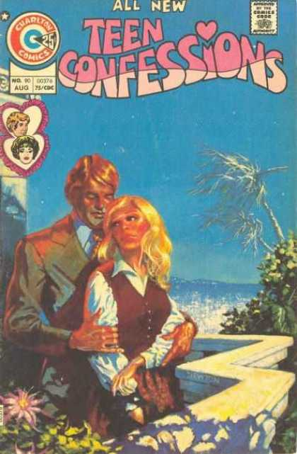 Teen Confessions 90 - Hearts - Palm Trees - Blond Girl - Patio Terrace - Guy