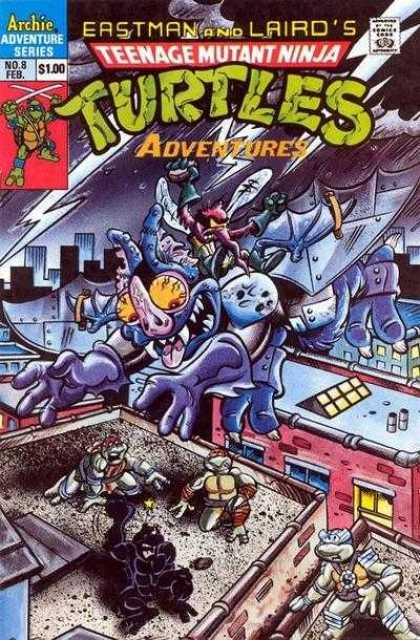 Teenage Mutant Ninja Turtles Adventures 2 8 - Roof Top - Lightening - Flying Bug With Yellow Eyes - Little Bug Throwing Rocks - Black Turtle