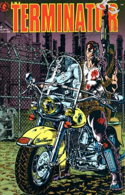 Terminator (1990) 2 - Motorcycle - Cyborg - Guns - Bulletholes - Barbed Wire