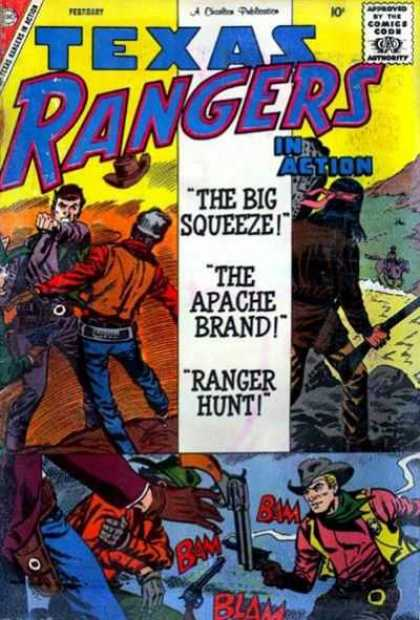 Texas Rangers in Action 20 - A Charlton Publication - The Big Squeeze - The Apache Brand - Ranger Hunt - Gun