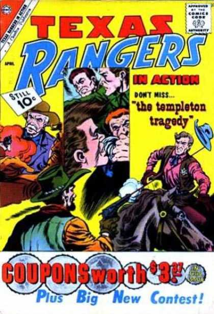 Texas Rangers in Action 27 - Still 10c - Dont Miss The Templeton Tragedy - Coupons Worth 337 - Plus Big New Contest - Man On Horse