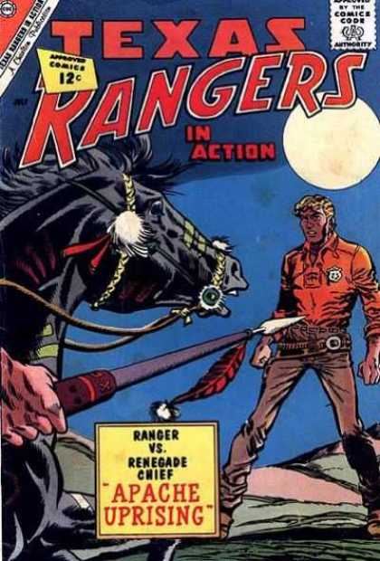 Texas Rangers in Action 34 - Approved By The Comics Code - Moon - Horse - Spear - Man