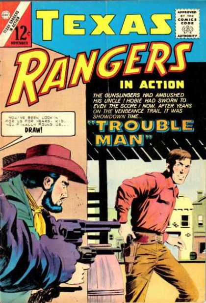 Texas Rangers in Action 42 - 12 Cents - Trouble Man - Speech Bubble - Cowboy Hat - Gun
