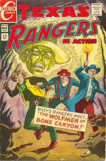 Texas Rangers in Action 65 - Charlton Comics - Mar Cdc No 45 - Tileys Rangers Meet The Wolfmen Of Bone Canyon - Cowboys - Cave