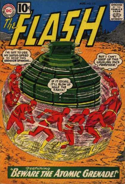 The Flash (1959) 122 - August - The Flash - Beware The Atomic Grenade - Bomb - Spinning