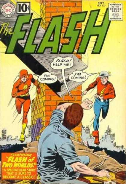 The Flash (1959) 123 - Dc - 10 Cents - Speech Bubble - Bricks - Brunette