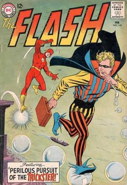 The Flash (1959) 142 - Perilous Pursuit Of The Trickster - Walking On Bubbles - Breifcase - Boat - Striped Outfit