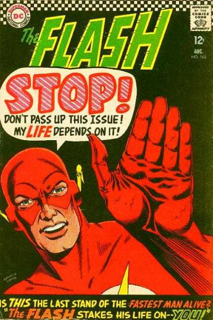 The Flash (1959) 163 - Stop - Dont Pass Up This Issue - My Depends On It - Fastest Man Alive - Stakes His Life On You