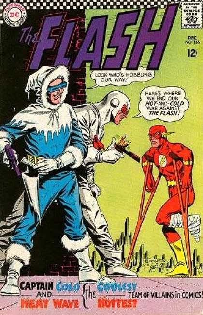 The Flash (1959) 166 - Captain Cold And Heat Wave - Flash On Crutches - Man In Coat With Gun - Issue Number 166 - 12 An Issue