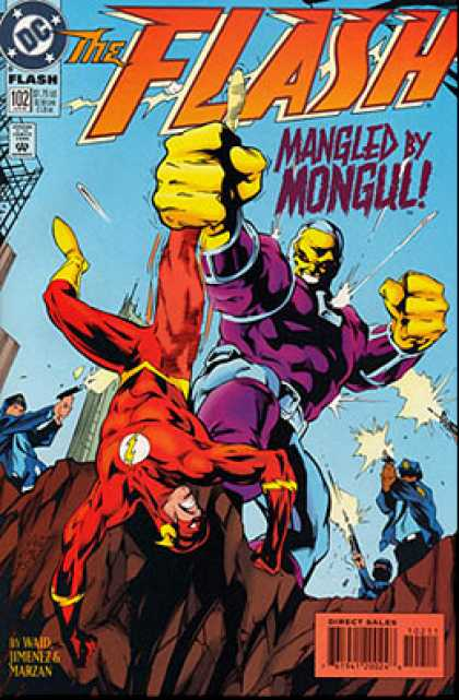 The Flash 102 - Mangled By Mongul - Superhero - Cop - Gun - Skyscraper