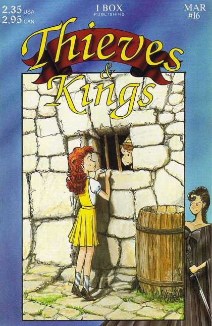 Thieves & Kings 16 - Stone Wall - Window With Bars - Girl Visiting Boy - Wooden Keg - Lady With Sword