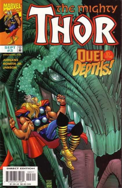 Thor (1998) 3 - Duel Depths - Marvel - Jurgens Romita Jr - Green Monster - Sharp Teeth - John Romita
