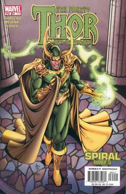 Thor (1998) 64 - Green Suit - Gold Robe - Green Lightning - Skull Shoulder - Spiral