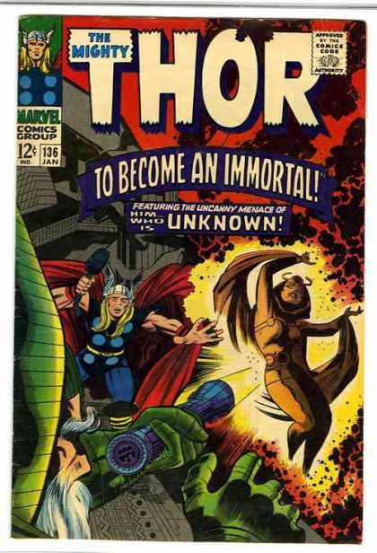 Thor 136 - Marvel - Comics Code - To Become An Immortal - Costume - Hammer - Jack Kirby