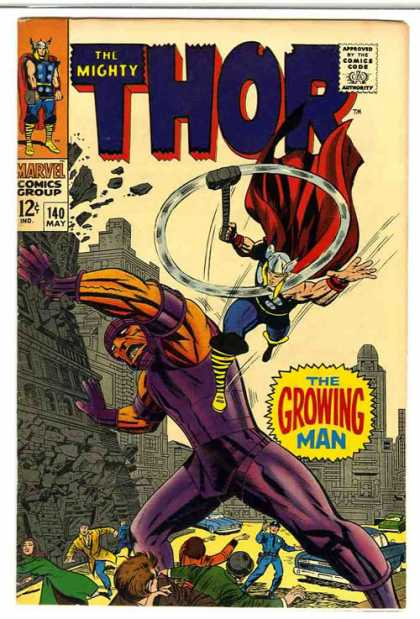 Thor 140 - Hammer - Building - Growing Man - Giant - The Growing Man - Jack Kirby