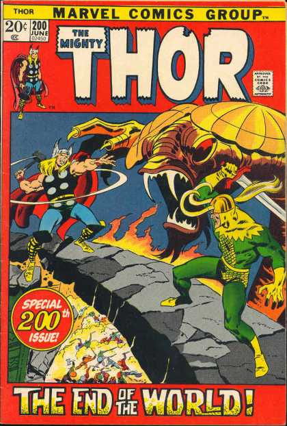 Thor 200 - Marvel Comics Group - The Mighty - Special 200th Issue - The End Of The World - 200 June
