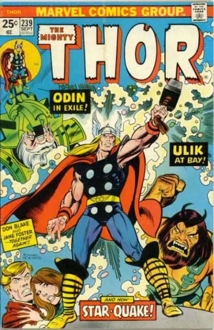 Thor 239 - Marvel Comics Group - Approved By The Comics Code Authority - The Mionty - Odin In Exile - 239 Sept