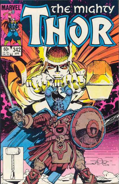 Thor 342 - Marvel - Mighty - Hammer - Shield - Viking Hat - Walter Simonson