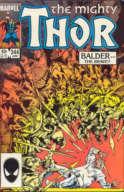 Thor 344 - Thor - Cartoon - Man - Weapon - Poster - Walter Simonson