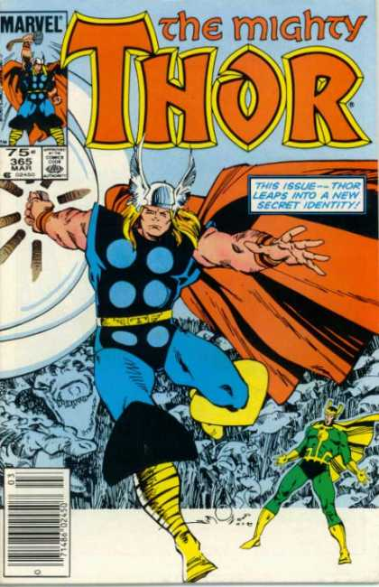 Thor 365 - Thor Leaps To A New Secret Identity - Winged Helmet - Yellow Boots - Green Suited Pan - Huge Sheild - Walter Simonson