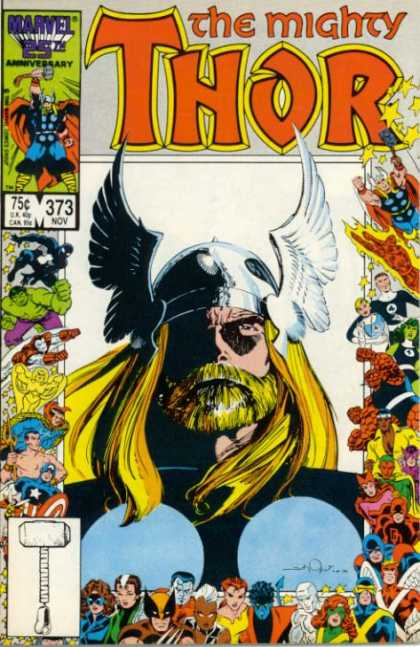 Thor 373 - Black And White Hammer Graphic - Winged Helmet - Incredible Hulk - Nov 373 - Flying Super Heros - Walter Simonson