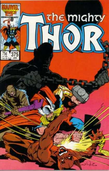 Thor 375 - The Mighty - Marvel - Ball And Chain - Hammer - Fighting - Walter Simonson
