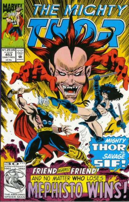 Thor 453 - Friend Against Friend - And No Matter Who Loses - Mephisto Wins - 125 Us - 453 Early Nov