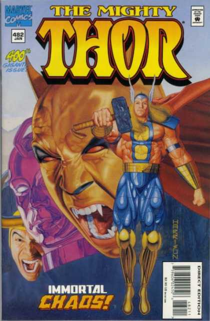 Thor 482 - Thors Hammer - Marvel Comics - 400th Issue - Immortal Chaos - Screaming