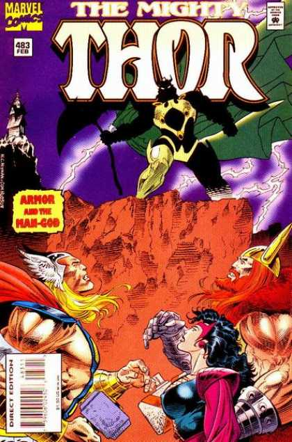 Thor 483 - Armor And The Man God - Issue 483 - February Issue - 4 People On Cover - Man With Green Cape In Background
