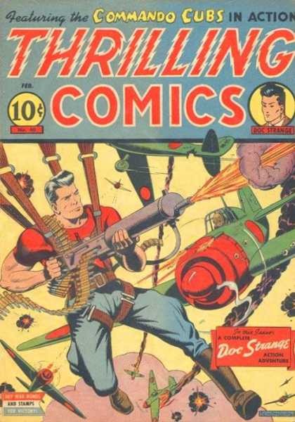 Thrilling Comics 40 - Electric Text - Flame Thrower - Parachute - Plane - Boots