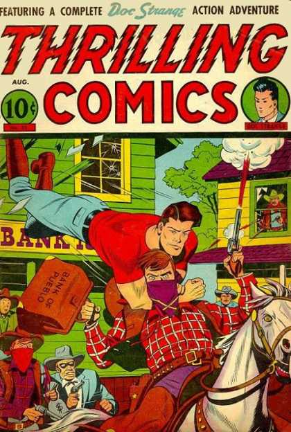 Thrilling Comics 55 - Fighting Man - Gun - Bag - Home - Horse