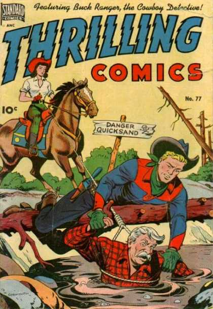 Thrilling Comics 77 - Horse - Woman - Girl - Wood - Saddle