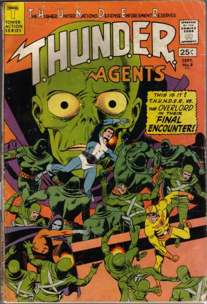 Thunder Agents 8 - Alien - Gree Suits - Purple Cape - Fight - Punch