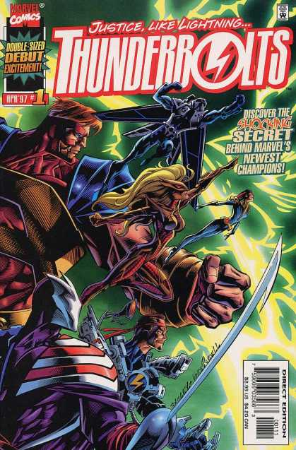 Thunderbolts 1 - Justicelike Lighting - Marvel - Double-sized Debut - Costumes - Superheroes - Mark Bagley