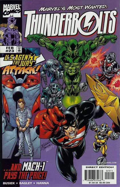 Thunderbolts 23 - Us Agent - The Jury Attack - Marvel Comics - Hand Cuffs - Criminal - Mark Bagley