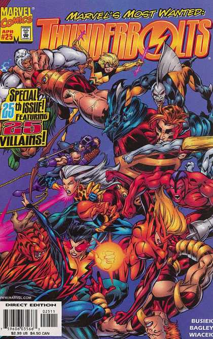 Thunderbolts 25 - Villains - Marvels Most Wanted - Bagles - Special 25th Issue - Bow And Arrow - Mark Bagley