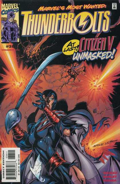 Thunderbolts 38 - Citizen V Unmasked - Sword - Lady With A Sword - Explosives - Cape - Mark Bagley
