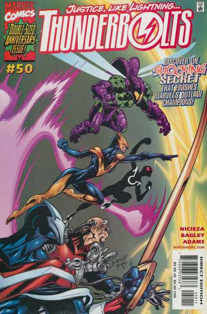 Thunderbolts 50 - Action Packed - Heroes Take Flight - Winged Superhero Takes Charge - Charging Towards Destiny - Justice From The Air - Mark Bagley