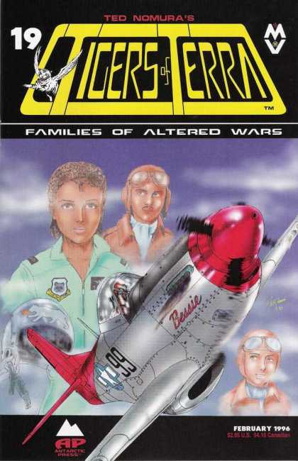 Tigers of Terra 19 - Silver And Red Airplane - Ted Nomura - February 1996 - Pilots Wearing Leather Helmets - Green Suit With Badges