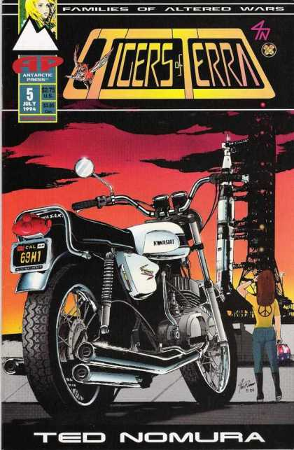 Tigers of Terra 5 - 69h1 - Motorcycle - Yellow Shirt - Peace Sign - Ted Nomura
