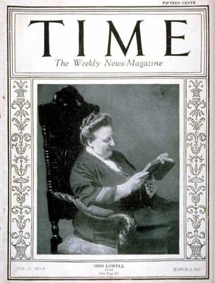 Time - Amy Lowell - Mar. 2, 1925 - Books - Poets