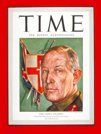 Time - Kenneth A. N. Anderson - May 3, 1943 - World War II - Great Britain - Army