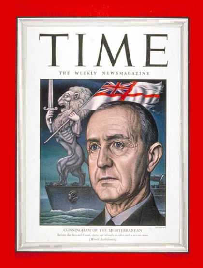 Time - Adm. Sir Andrew Cunningham - May 24, 1943 - Admirals - Navy - Great Britain - Wo