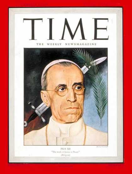 Time - Pope Pius XII - Aug. 16, 1943 - Religion - Christianity - Popes - Catholicism