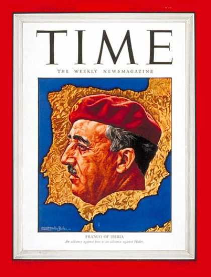 Time - Generalissimo Franco - Oct. 18, 1943 - Francisco Franco - Spain - Military - Wor