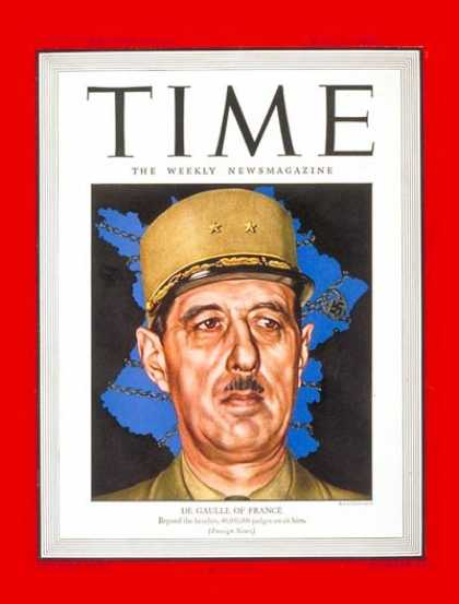 Time - Charles DeGaulle - May 29, 1944 - France - World War II